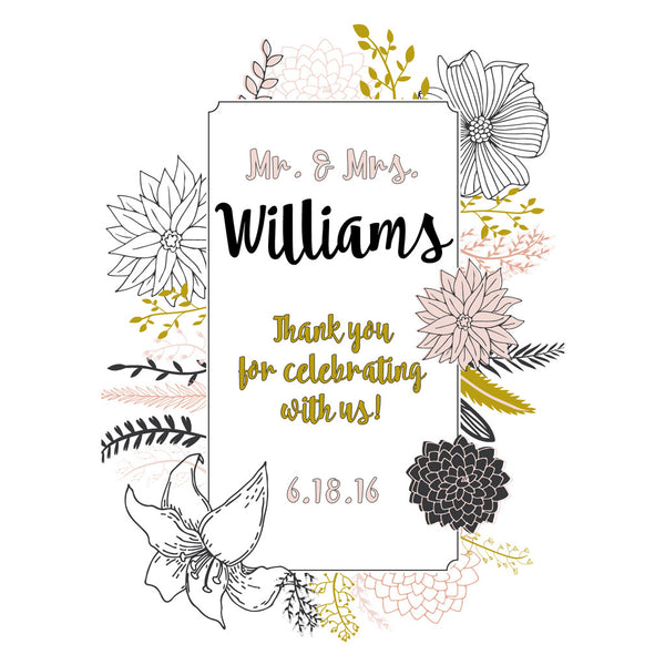 Stencil Flowers Thank You - Wedding Wine Labels
