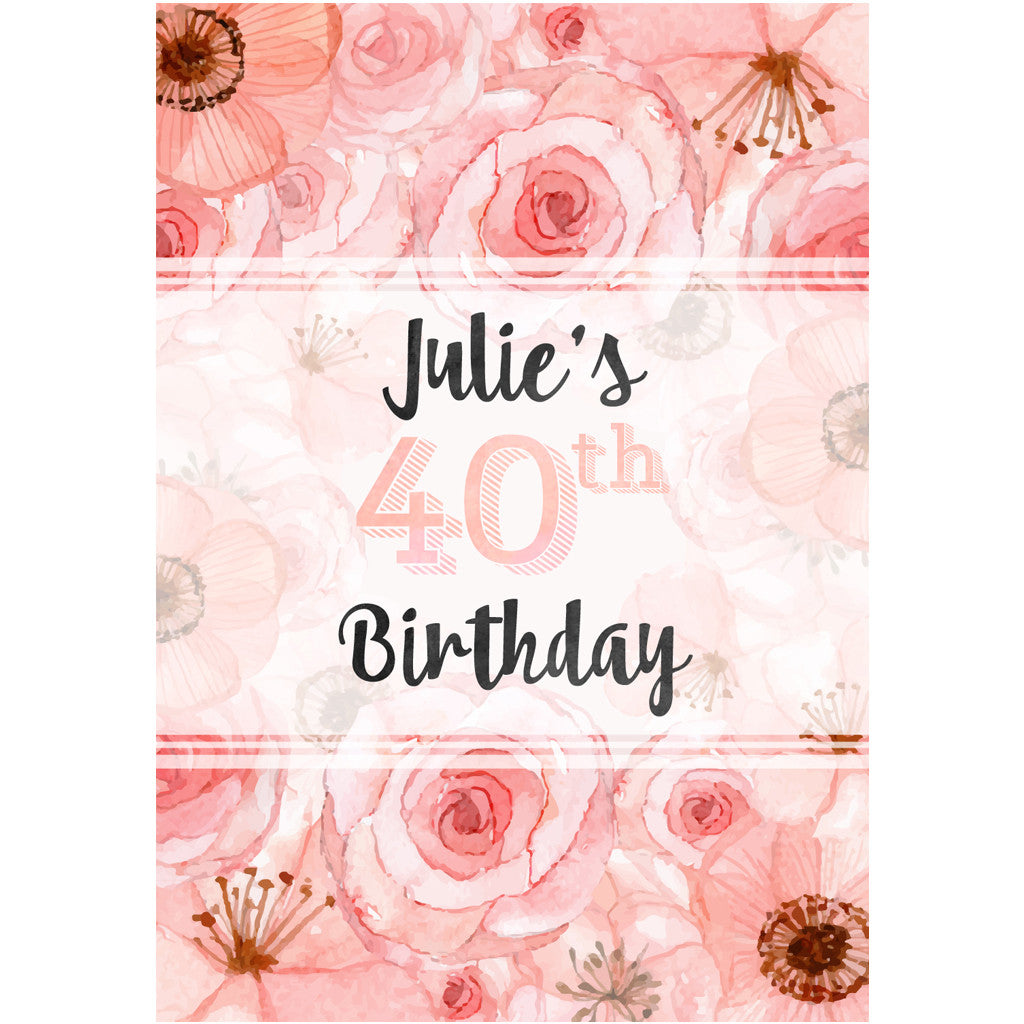 Pink Flower And Name Birthday Wine Labels Liquid Courage Flasks