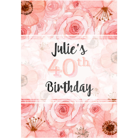 Pink Flower and Name - Birthday Wine Labels