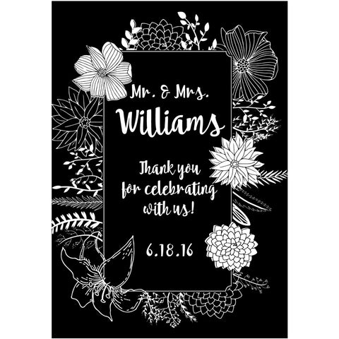 Black and White Stencil Flowers Thank You - Wedding Wine Labels