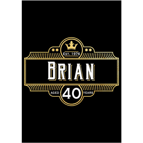 Crown Black & Gold - Birthday Wine Labels