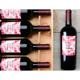 Lipstick Flower and Name - Birthday Wine Labels