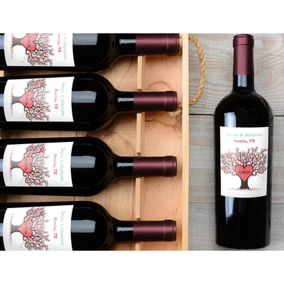Tree of Hearts - Wedding Wine Labels