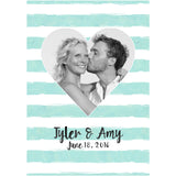 Watercolor Rugby Stripe Heart with Picture - Wedding Wine Labels