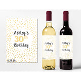 Gold Dots - Birthday Wine Labels