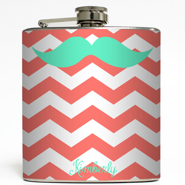 Girly Stache - Personalized Mustache Flask