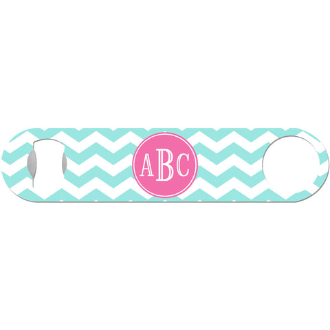 3 Initials Monogram - Personalized Chevron Bottle Opener
