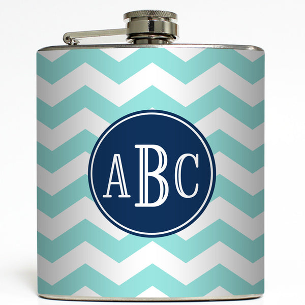 3 Initials Monogram - Personalized Chevron Flask