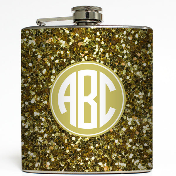 Gold Glitter Monogram - Personalized Flask