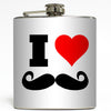 Mustache Love - I Heart Mustache Flask