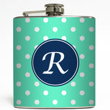 Personalized Polka Dot - Initial Flask