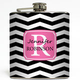 Chevron Monogram - Personalized Flask
