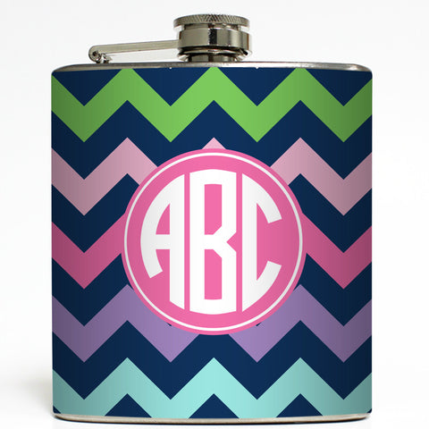 Navy Circle Monogram - Chevron Flask