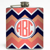Peach Circle Monogram - Chevron Flask