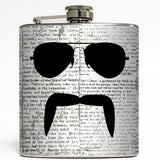 The Aviator - Mustache and Sunglasses Flask