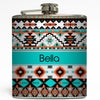 Teal Tribal - Monogram Flask