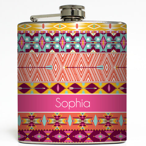 Pink Aztec - Personalized Flask