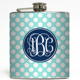 Blair Polka Dot Monogram - Initial Flask