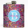 Personalized Pink Paisley -  Monogram Flask