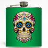 Day of the Dead Skull - Green Flask