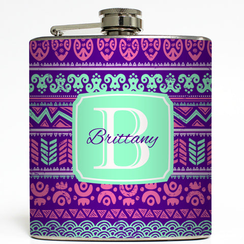 Beachy Tribal Monogram - Purple Flask
