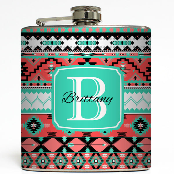 Personalized Aztec Tribal - Coral Flask