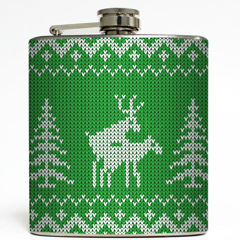Son of a Nut Cracker - Green Humping Reindeer Flask