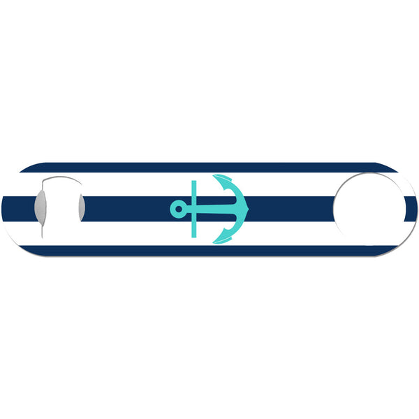 Turquoise Anchor on Navy Rugby Stripe - Nautical Bottle Opener