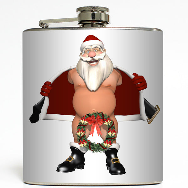 Christmas Wreath - Flashing Santa Flask
