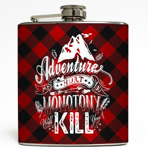 Adventure - Buffalo Check Flask