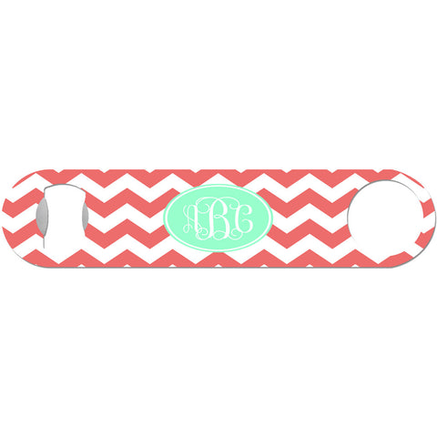 Coral and Mint Monogram - Personalized Bottle Opener