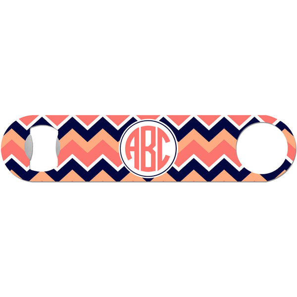 Peach Circle Monogram - Chevron Bottle Opener