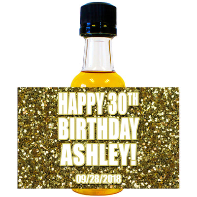 Gold Glitter - Birthday Mini Bottle Labels