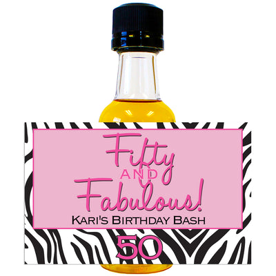 Fabulous Zebra - Birthday Mini Bottle Labels