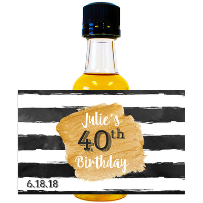 Watercolor Rugby Stripe - Birthday Mini Bottle Labels