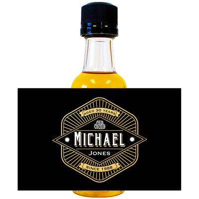 Three Barrel Black & Gold - Birthday Mini Bottle Labels