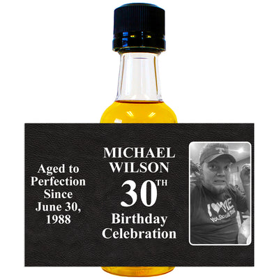 Aged to Perfection Photo Side - Birthday Mini Bottle Labels