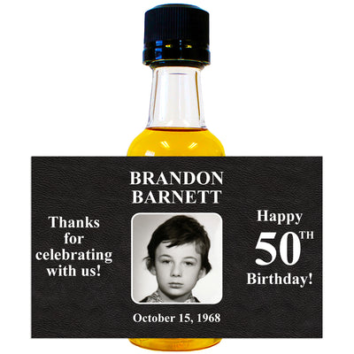 Happy Birthday Photo Front - Birthday Mini Bottle Labels
