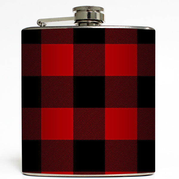 Red & Black Buffalo Plaid - Lumberjack Flannel Flask