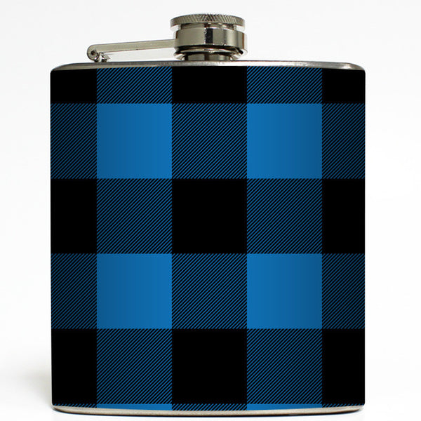 Blue & Black Buffalo Plaid - Lumberjack Flask