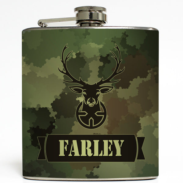 Deer Hunting Camo - Personalized Flask