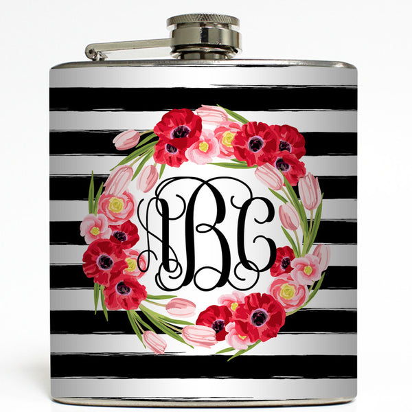 Floral Rugby Stripe - Personalized Monogram Flask