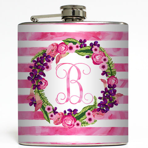Floral Pink Rugby Stripe - Personalized Monogram Flask