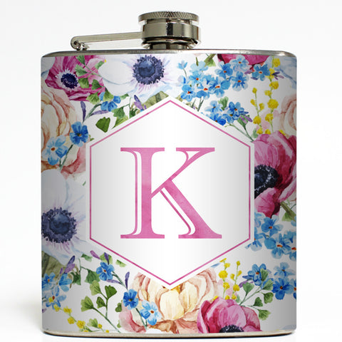 Vintage Flowers - Personalized Monogram Flask