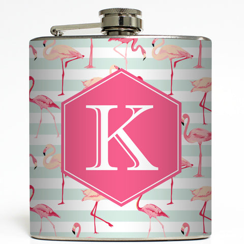 Pink Flamingo Stripes - Personalized Monogram Flask