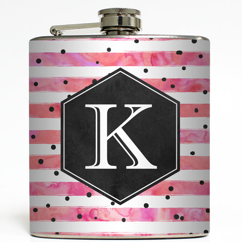 Polka Dot Stripe - Personalized Monogram Flask