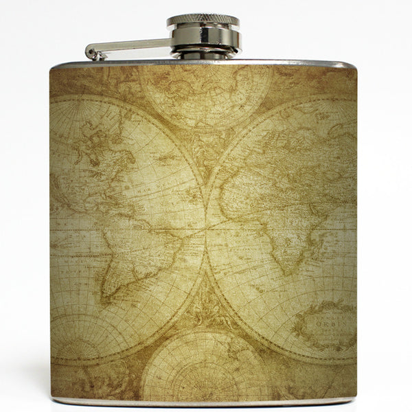 Vintage World Map - Globe Flask
