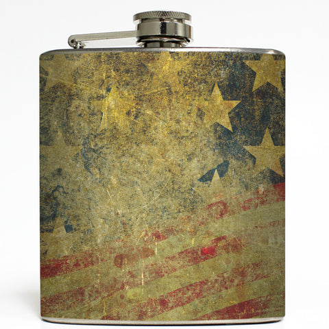 Distressed American Flag - Vintage Stars and Stripes Flask