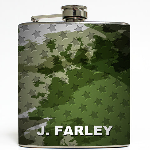 Military Camo Stars - Personalized Flask