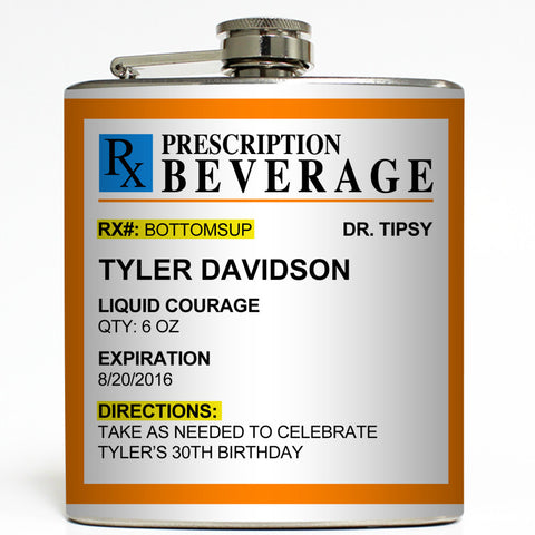 Funny Prescription Beverage - Custom Flask